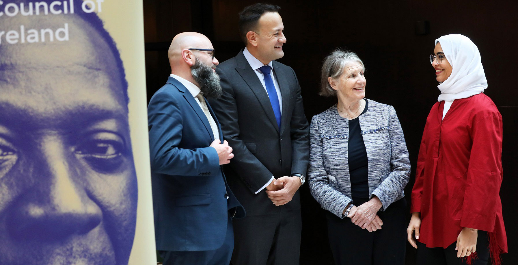 Immigrant Council CEO Brian Killoran and Sr Stan Kennedy speaking with Leo Varadkar and Raneem at 2019 conference